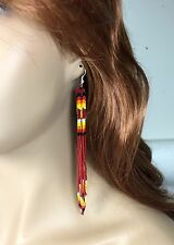 Red Glass Seed Beads Beaded Extra Long Earrings 5.5 inch E53/29