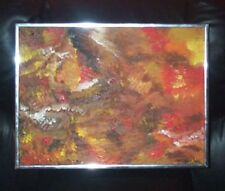 CHROME FRAMED ABSTRACT ART OIL PAINTING CALLED AUTUMN IN EXCELLENT CONDITION