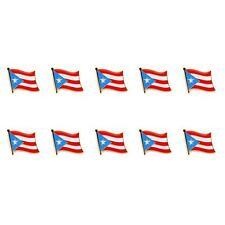 "LOT OF 10 PUERTO RICO FLAG LAPEL PIN 0.5"" Puerto Rican NEW Pinback Hat Tie Badge"