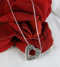 "Sterling Silver Marcasite Heart Necklace 18"" Feral Cat Rescue"