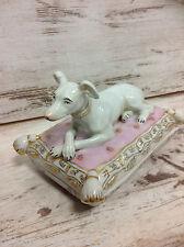 porcelaine boîte à bijoux coffret Chien Coussin Lévrier Lévrier Whippet vintage