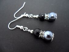A PAIR DANGLY BLACK/GREY GLASS PEARL  SILVER PLATED  EARRINGS.  NEW.