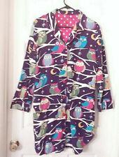 NICK & NORA Women's M MEDIUM Flannel OWL Nightshirt / Robe PURPLE / GREEN / TEAL
