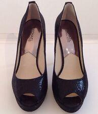 Reduced!! Michael Kors York Platform Pumps In Black Glitter In Women Size 10 M