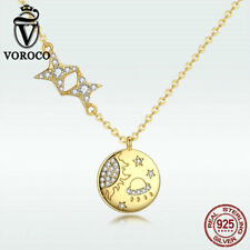 Voroco Women 925 Sterling Silver Pendant Necklace Gold Star Charm Chain Jewelry