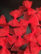 15 Small 3cm Red Organza Bows/Card Making/decorations/Valentines