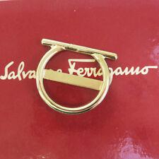 Auth Salvatore Ferragamo Gancini Scarf Ring Gold-Tone Italy Accessory 06EG171
