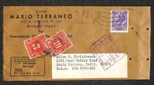 ITALY TO USA MARIO TERRANEO MARCASSITE EARRINGS POSTAGE DUE STAMPS COVER 1956