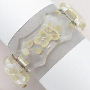 Vintage Reverse Carved LARGE Plastic Galalith Bangle Bracelet