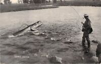 """Some Class"" Giant Fish Exaggeration Unused Postcard Fishing Man Cave"