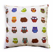 LL407a Beige Grey Red Brown Turquoise Blue Owl Cotton Canvas Pillow/Cushion Case
