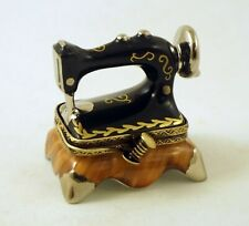 New French Limoges Box Old-Fashioned Sewing Machine With Spool Of Thread Clasp