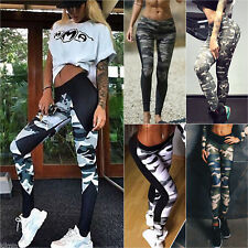 Women Camo High Waist Jogging Yoga Fitness Leggings Pant Sport Skinny Trouser UK