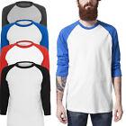 Mens Baseball 3/4 Sleeve Raglan Cotton T Shirts Tee Jersey Top Plain t Shirt