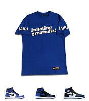 "Inhaling Greatness (AIR) Tee to Match Air Jordan 1 Retro ""Royal Toe"" Sport Blue"