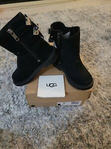 TODDLER GIRL UGG BLACK BOOTS WITH BOWS Size 8M T TILLEE ORIGINAL BOX