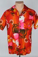 Vintage Royal Hawaiian Mens M Multicolor Floral Barkcloth Camp Collar Shirt USA