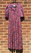Vintage Original Laura Ashley Floral Dress 1980's Chic 100% Cotton UK Made XS S