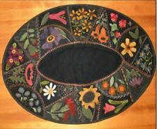 Flower Garden Crazy Table Mat Wool Applique Primitive Gatherings Pattern
