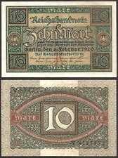GERMANY  10 Mark 06.02. 1920 Letter K  AU Pick 67 Letter K