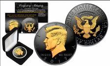 John F. Kennedy JFK Half Dollar Black Ruthenium Gilded mit Box & Zertifikat
