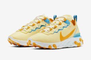 Nike React Element 55 Running Shoes Yellow BQ2728-700 Mens Sz 5.5 / WMNS Sz 7