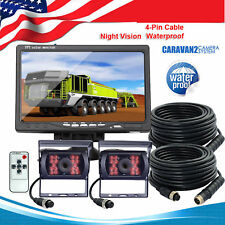"Dual Weatherproof Backup Rear View Camera 7"" Monitor for RV Bus Truck Heavy Duty"