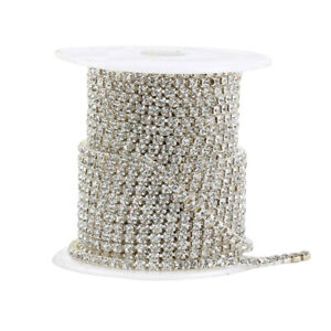 10 Meters Bracelet Crystal Rhinestone Trim Chain Silver Cup Close Diamante Chain