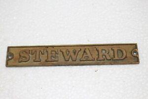 Vintage 1890's STEWARD Embossed Cast Brass Metal Ocean Passenger Ship Door Sign