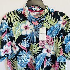 $140 Tommy Bahama Mens Konkan Jungle Silk Shirt XLT Floral Hawaiian S/S Black