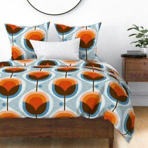 Mid Century Damask Retro Orange Geometric Sateen Duvet Cover by Spoonflower