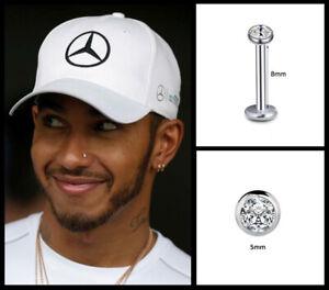 Men's/Boy's: Lewis Hamilton 18ct White Gold Plated 5mm Crystal Diamond Nose Stud