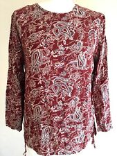 Womens Blouse Brown Paisley Print Long Sleeves Top Side Lace Up Zipper M 50% Off