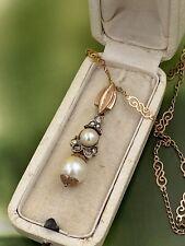 necklace OLD PENDENTIF antica vintage diamanti perle ORO& argento inizi 900