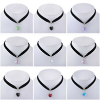 Gothic Vogue Handmade Velvet Heart Crystal Choker Necklace Pendant Retro 80 90s