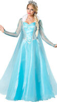 Deluxe Frozen Queen Elsa Costume Cosplay Adult Women Party Gown Fancy Dress M XL