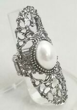 """Silver Faux Pearl Oval Filigree Large Cocktail Ring Crystal Stretch Band 2.5"""""""