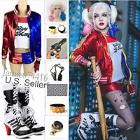 Harley Quinn Suicide Squad Costume Lot Cosplay S-4XL Boots Holster toy gun prop