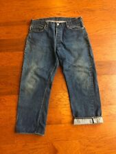 Vintage 80s Levis Selvedge 501 Redline. 36 X 27 Measured Dark