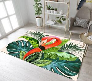 Watercolor Green Palm Leaf Flamingo Yoga Carpet Floor Rug Mat Bedroom Area Rugs
