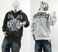 Men's Ecko Unltd Hip Hop Zipper Cotton Lining Warm Hoodie Graffiti Print Sweater
