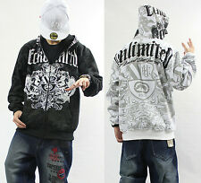 Men's Ecko Unltd Hip Hop Zipper Cotton Lining Warm Hoodie Graffiti Print Sweater