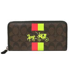 NWT Coach Signature PVC Stripe Zip Around Wallet 52588 Silver/Brown/Neon