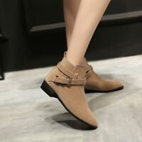 WOmen's Cuban Heels Fall Pointed Toe suede Leather Buckle Strap Ankle Boots US10