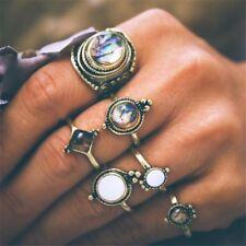 6pcs Women Vintage Cobblestone Rings Set Antique Gold Midi Knuckle Boho Jewelry