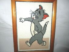 Tom Cross stitched Picture Professionally Framed Arts and Craft. Pre-owned. 1994