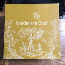 """NORDSTROM BEST Gold Colonial Toile HAT BOX 10 1/8"""" x 10 1/8""""  x 6"""" Tall VG"""