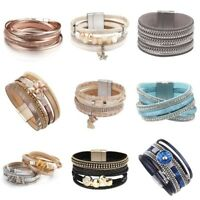 Vintage Women Bohemian Multilayer Leather Magnetic Wrap Charm Bracelet Jewelry