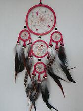 12 cm x 40 cm Rot Leder Dreamcatcher Traumfänger Indianer Federn Perlen Träume