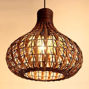 Dining Room Rattan Ceiling Pendant Lamp Living Lights Restaurant Hanging Light